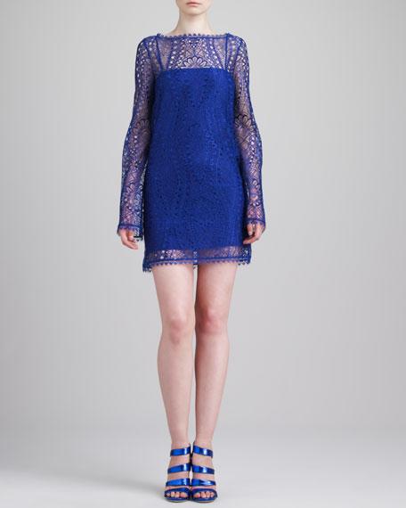 Long-Sleeve Lace Minidress, Indigo Violet