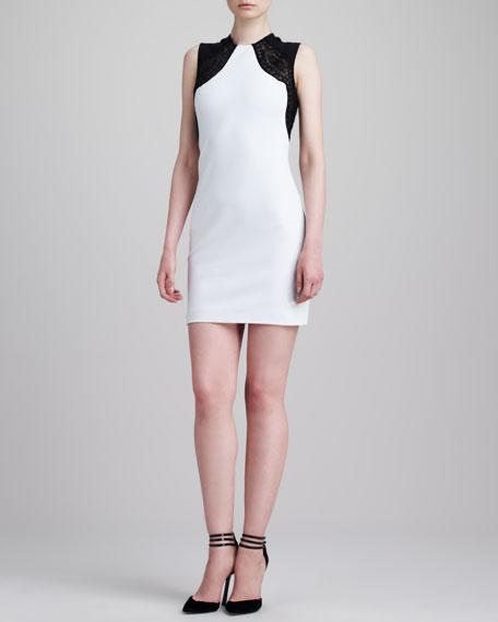 Lace-Shoulder Sleeveless Sheath Dress, White/Black