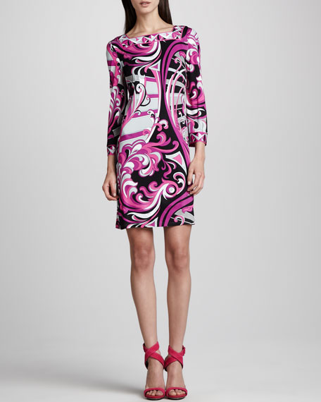 Printed Square-Neck 3/4-Sleeve Dress, Fuchsia