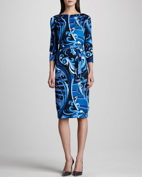 Marilyn Printed Silk Dress, Blue