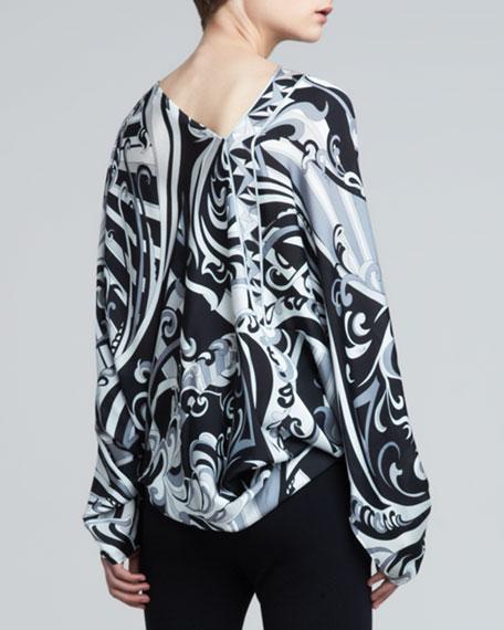 Printed Long-Sleeve Poncho, Black/White