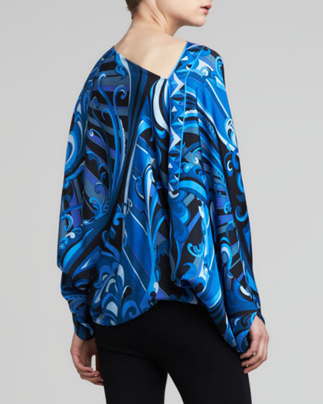 Printed Long-Sleeve Poncho, Black/Blue