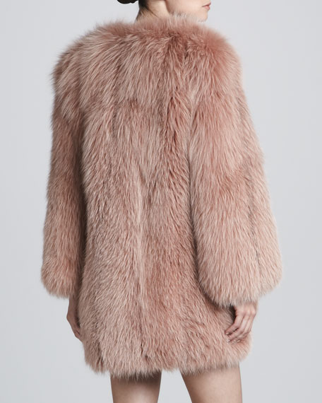 Collarless Fox Fur Coat, Rose