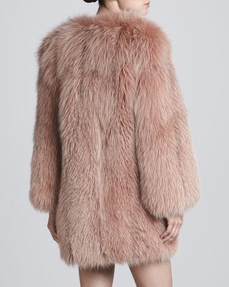 Collarless Fox Fur Coat, Rose