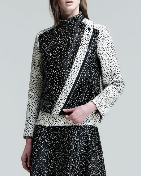 Asymmetric Squiggle-Print Calf Hair Jacket