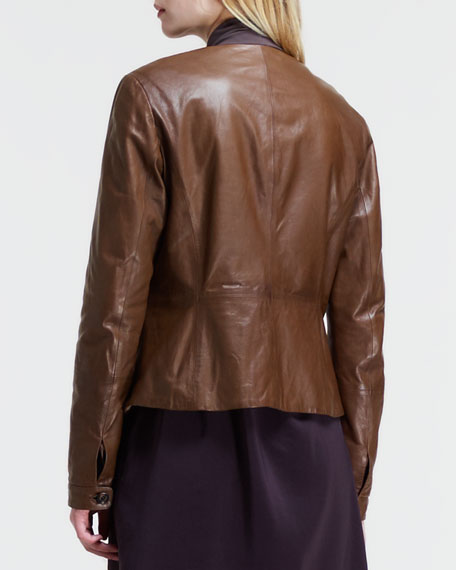 Leather Quilted-Lapel Jacket