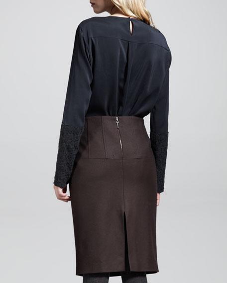 Leather Flannel-Back Skirt