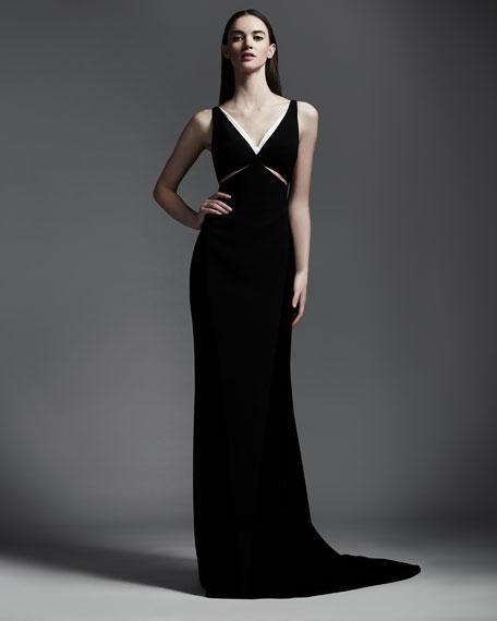 Velvet Cutout Contrast-Trim Gown