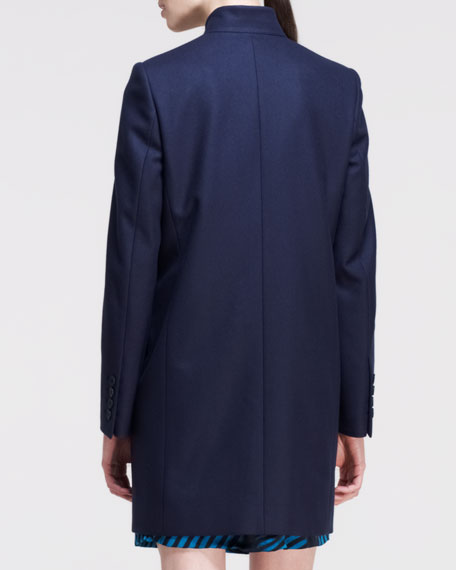 One-Button Seamed-Lapel Coat