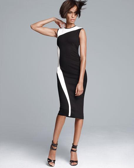Stella McCartney Wave Colorblock Long Sheath Dress