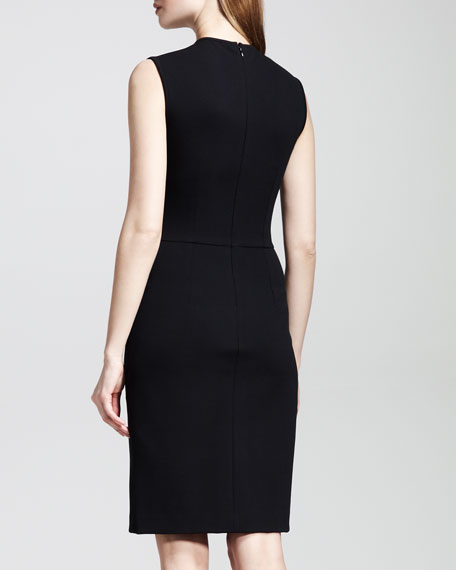 Applique-Shoulder Jersey Sheath Dress