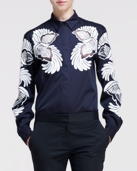 Feather-Flower-Embroidered Poplin Shirt