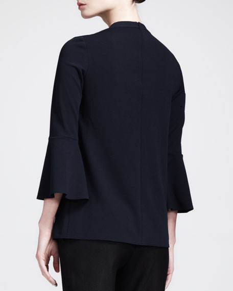 Trumpet-Sleeve Knit Top