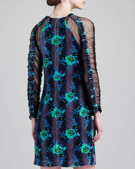 Long-Sleeve Floral Dress, Green