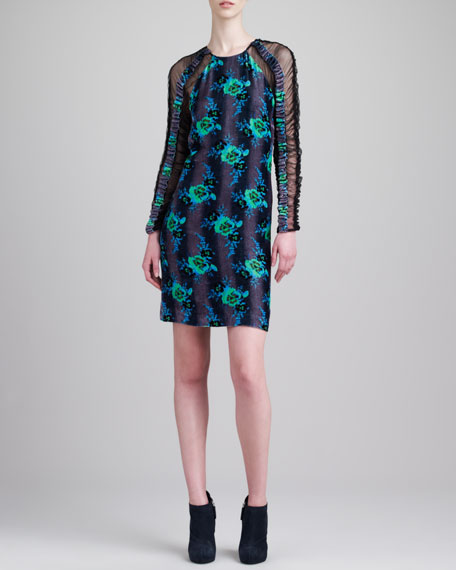 Long-Sleeve Floral Dress, Green