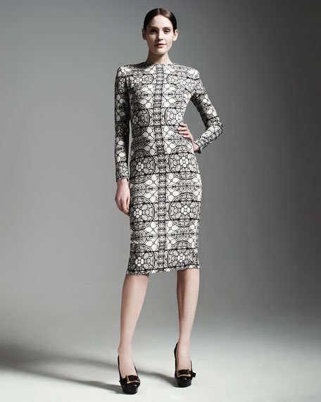 Long-Sleeve Stained Glass Sheath Dress