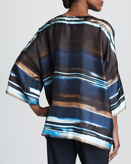 Abstract Striped Silk Tunic, Navy/Multicolor