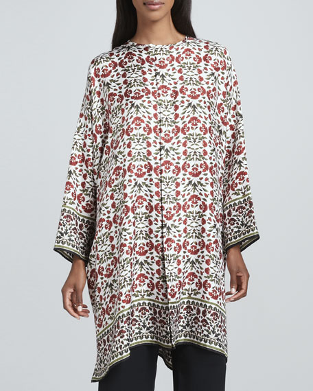 Floral Round-Neck Long Shirt, Ivory