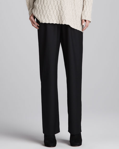 Straight-Leg Trousers, Black