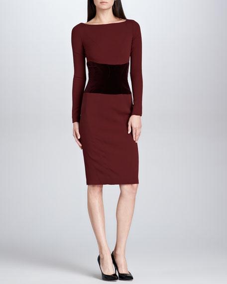 Velvet-Waist Satin-Back Crepe Dress, Bordeaux