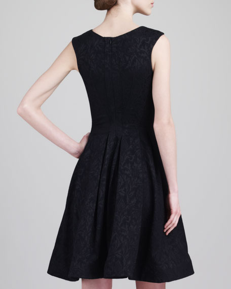 Sleeveless Jacquard Party Dress, Black