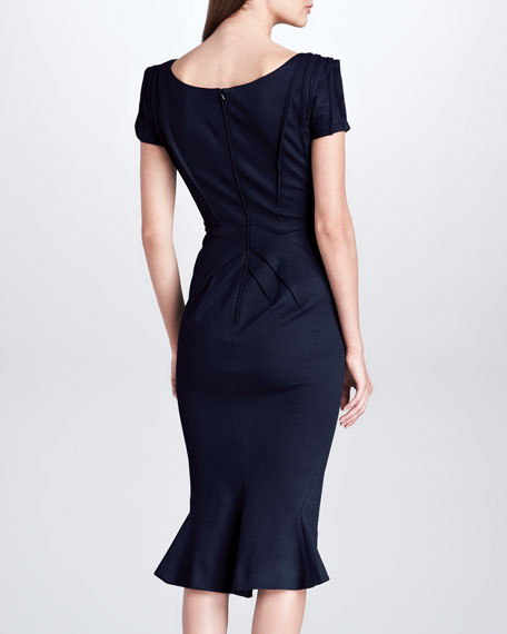 Short-Sleeve Bonded Jersey Dress, Navy