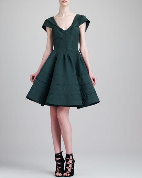 V-Neck Flare Dress, Green