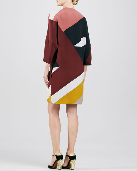 Mondrian Patchwork 3/4-Sleeve Dress