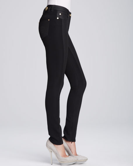 5-Pocket Bi-Fabric Skinny Jeans, Black