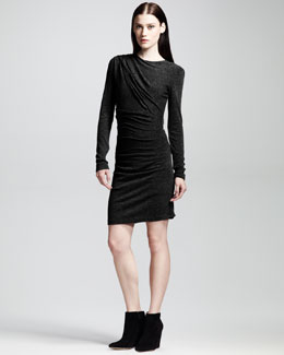 T by Alexander Wang Long-Sleeve Mohair-Jersey Drape Dress