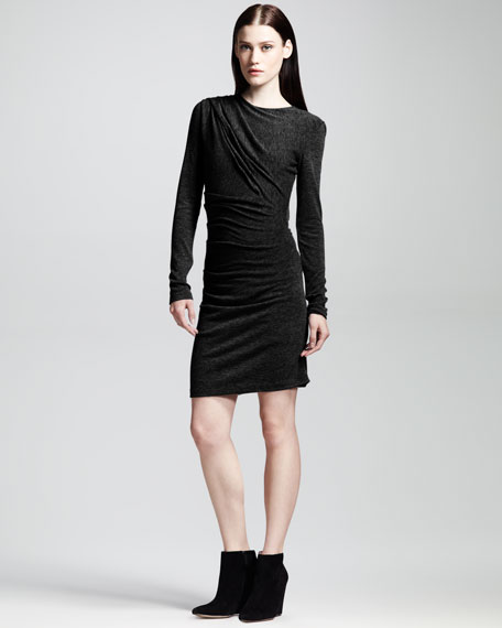 Long-Sleeve Mohair-Jersey Drape Dress