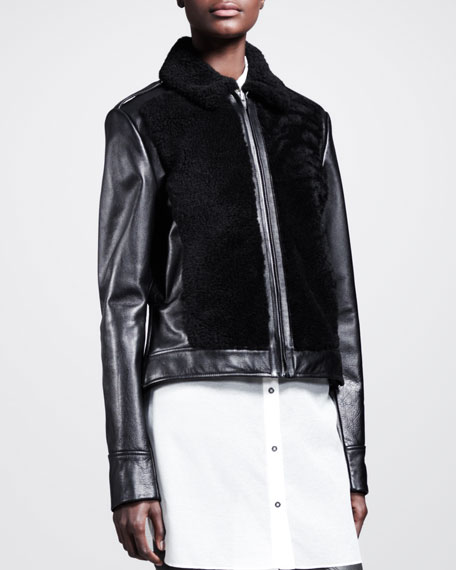 Grizzly Shearling-Front Moto Jacket