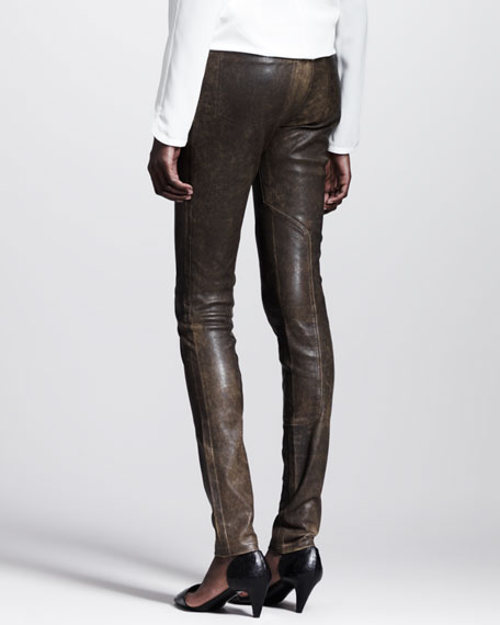 Distressed Leather Skinny Jeans