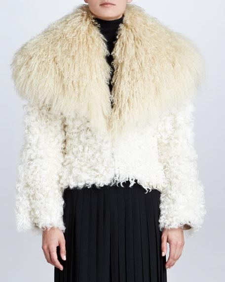 Kristina Shearling & Goat Fur Jacket, Cream