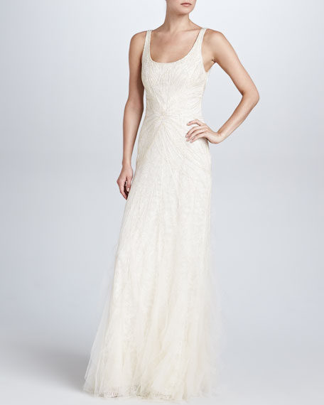 Chantel Beaded Evening Gown, Champagne
