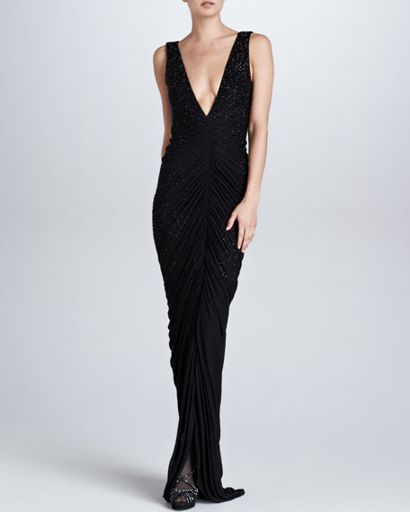 Clarissa Beaded Plunging V-Neck Gown, Black
