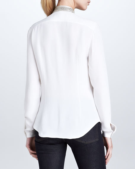 Abrielle Beaded-Tie Silk Blouse, White