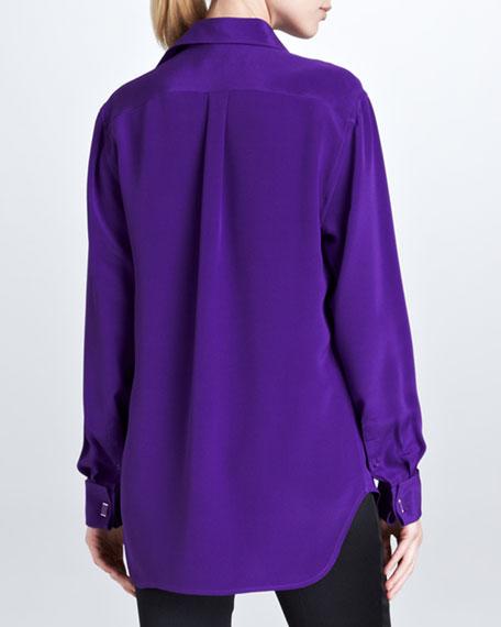 Margaret Long-Sleeve Silk Shirt, Royal Purple