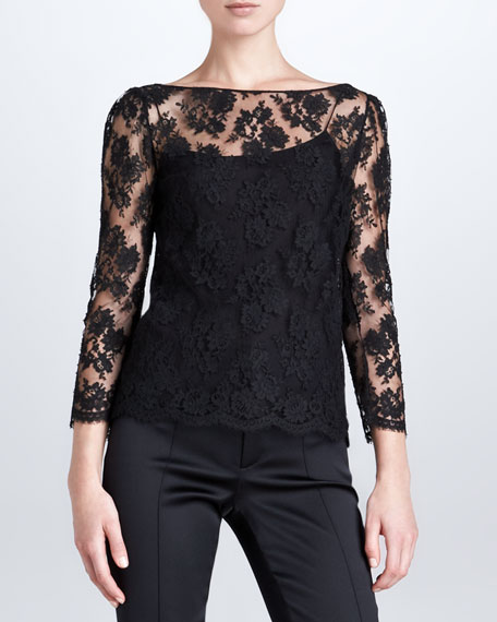 Rhys Scalloped Lace Top, Black
