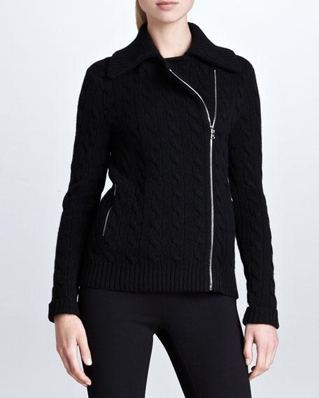 Long-Sleeve Cashmere Jacket, Black