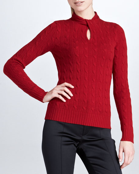 Twist-Front Cashmere Cable-Knit Top, Red