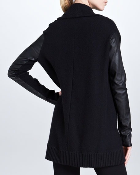 Leather-Sleeve Draped Cardigan, Black