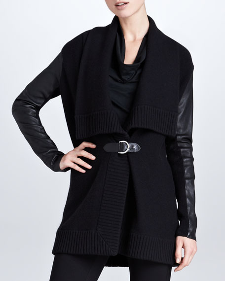 Leather-Sleeve Draped Cardigan, Black