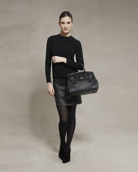 Charmaine Leather-Skirt Combo Dress, Black