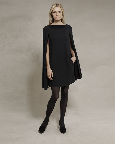 Ashland Drop-Shoulder Cape-Sleeve Dress, Black