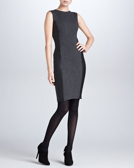 Winton Stretch Leather-Side Dress, Gray/Black