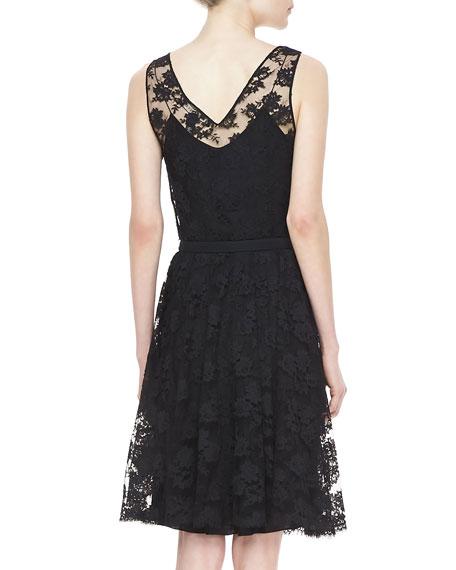 Rhys Belted Lace Dress, Black