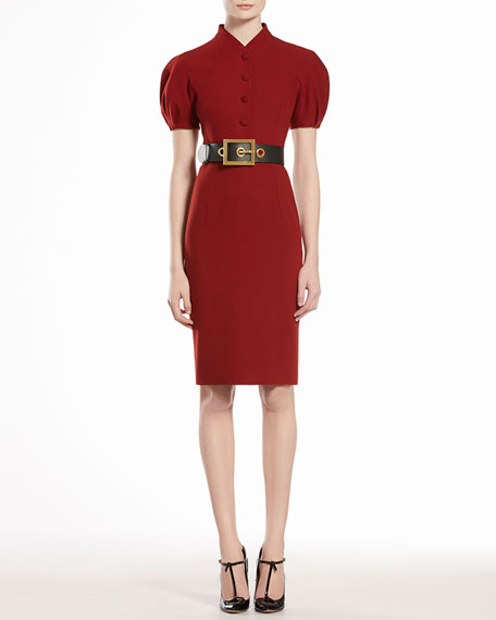 Wool Dress with Puff Sleeves