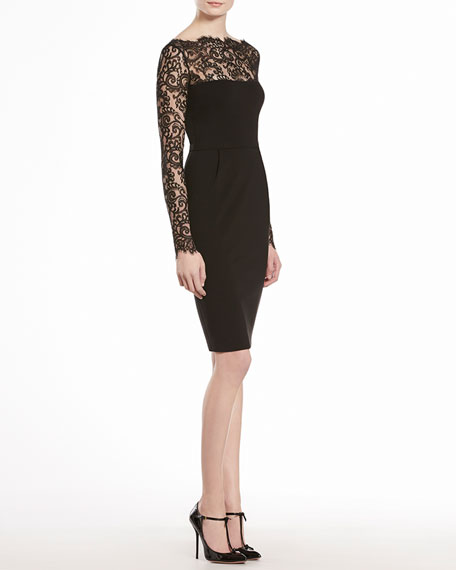 Stretch Viscose Jersey with Lace Flowers Dress