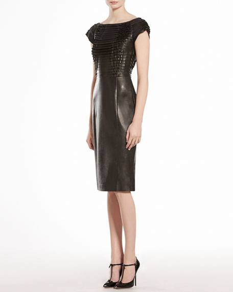 Napa Leather Ruched Dress